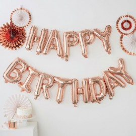 image of Happy Birthday Balloon Party Deco Foil Balloon (Gold/Silver/Rose/Gold/Blue/Pink)