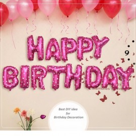 image of Happy Birthday Balloon White Love Dot Party Decoration Foil Balloon (Pink, Blue)