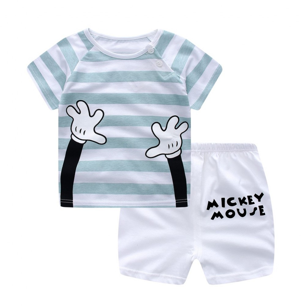 a5a8f8606 Mickey Casual Kid Clothing Summer Suit suit boys girls 2pcs Set
