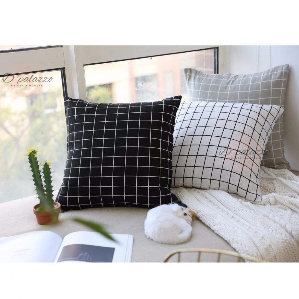 (Ready Stock) Plaid Pillow Cover Pillow Case Sofa Cushion Home Decoration