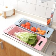 image of Kitchen Tool Retractable Plastic Vegetable Fruits Washing Scouring Basket