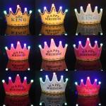 LED Light 3 Mode Light Bulb Crown Birthday Crown Hats Party Cap Birthday