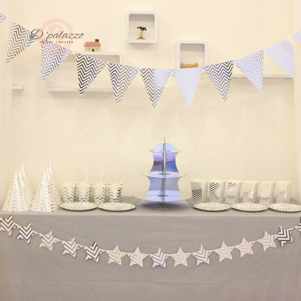 Bronzing Gold Silver Triangle Bunting Banner Flag Cake Stand Party Decoration