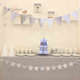 image of Bronzing Gold Silver Triangle Bunting Banner Flag Cake Stand Party Decoration