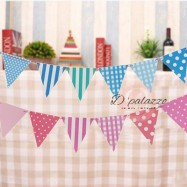 image of Birthday Flag Blue Pink Triangle Bunting Banner Flag for Birthday Party Deco