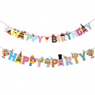 image of Happy Birthday Flag Mustache Bunting Flag Banner Flag Kids Birthday Party
