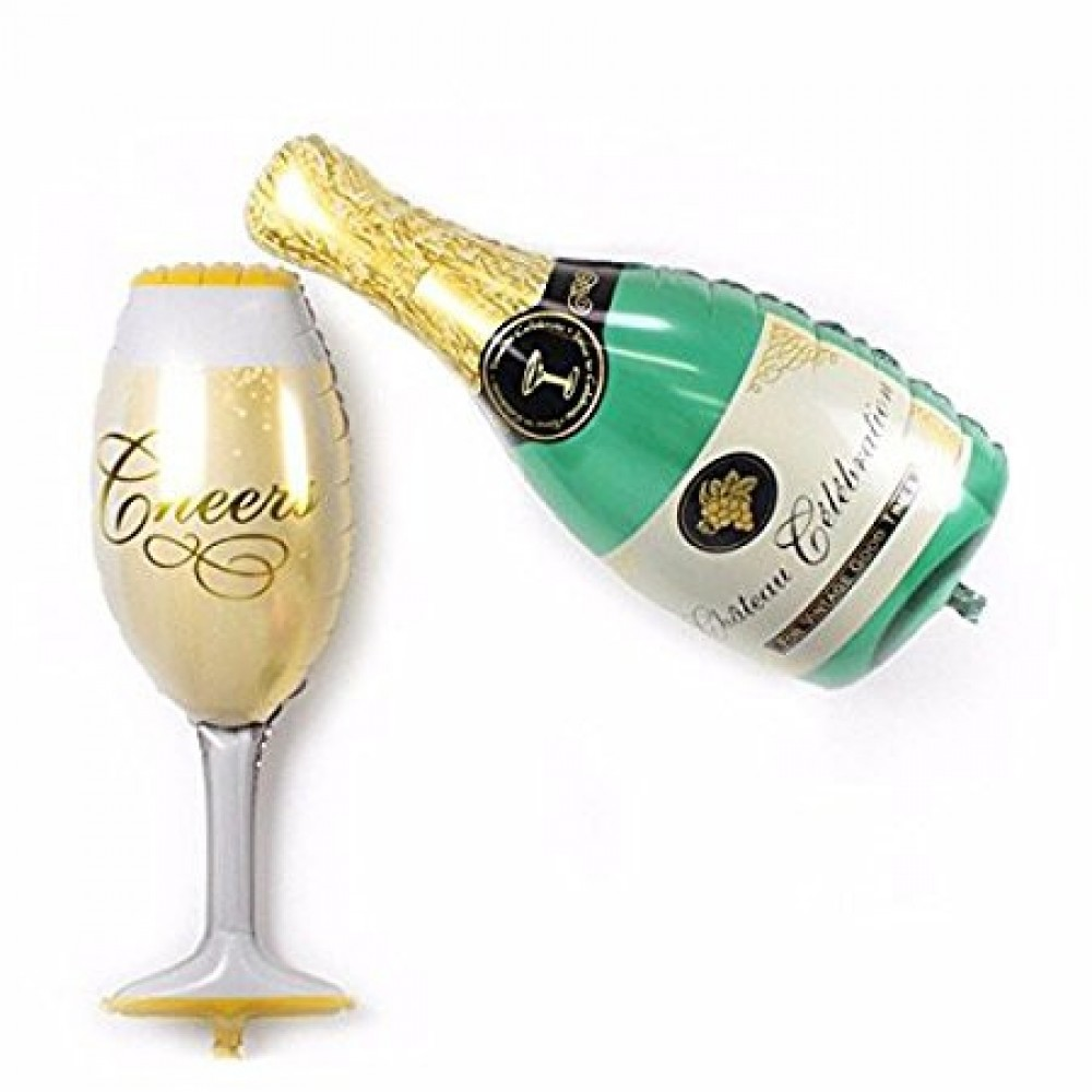 (Ready Stock) Champagne & Glass Foil Balloon Champagne Balloon Wine Balloon Deco