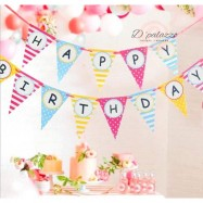 image of Happy Birthday Flag Triangle Bunting Banner Flag for Birthday Party Decoration