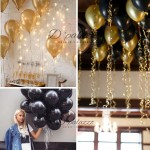 12' inch 3.2g Thicken Gold Balloon / Black Color Balloon Pearl Latex 10/20/50