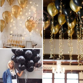 image of 12' inch 3.2g Thicken Gold Balloon / Black Color Balloon Pearl Latex 10/20/50