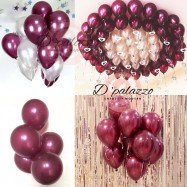 image of Maroon Balloon Ruby Balloon Red Wine Burgundy Grey White 12 inch Latex Balloon