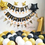Pearl Gold Silver Black Latex Balloons Flag Bunting Birthday Wedding Party Decor