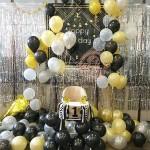 Pearl Gold Silver Black Latex Balloons Flag Bunting Birthday Wedding Party Decor