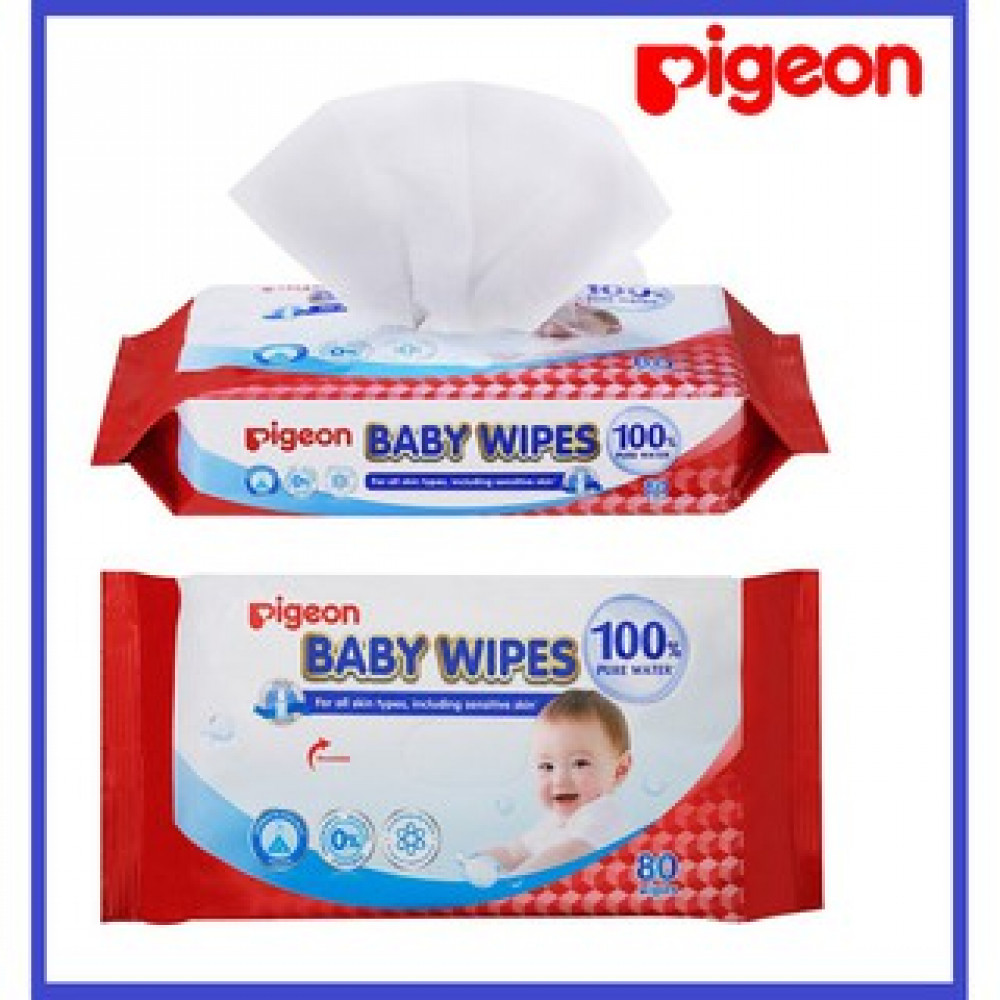 Pigeon Baby Wipes 100% Pure Water 80's