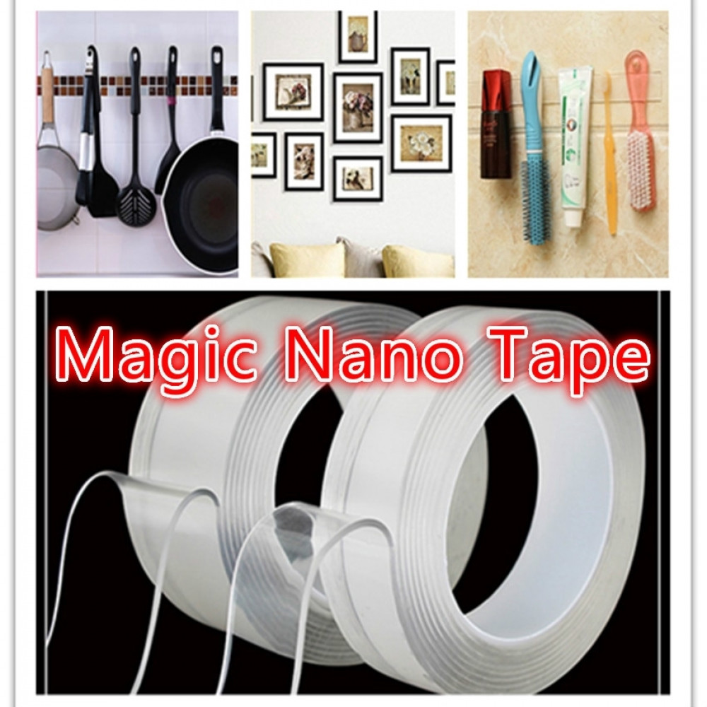 Multifunctional Strongly Sticky Double-Sided Adhesive Nano Tape Reusable Washable Tapes 5 Meters