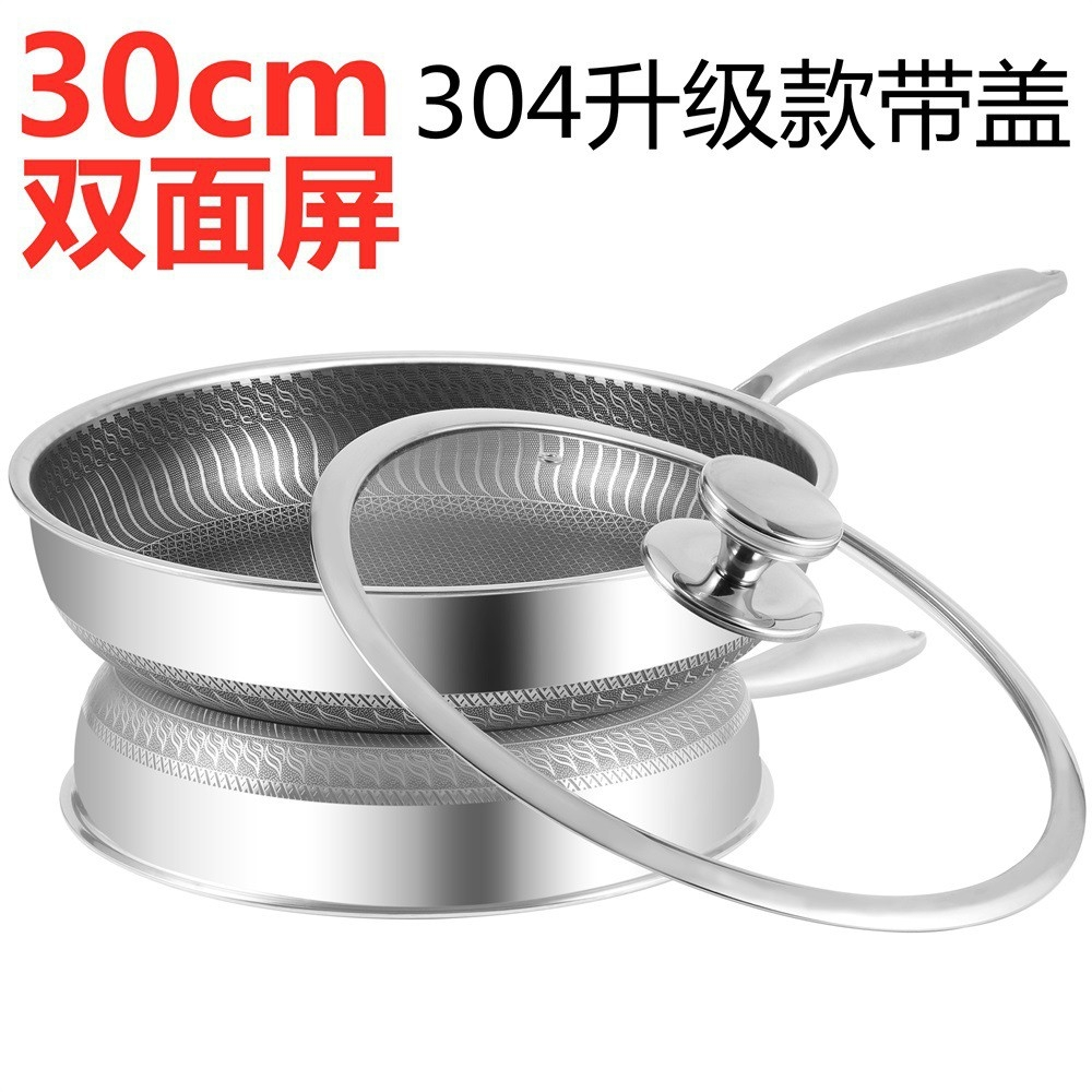 30cm Upgraded Food grade 304 Stainless Steel Non-Stick Frying Pan