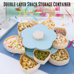 【Single / Double-Layer】 Rotating Flower Petal Candy Box Nuts Case Snack Storage Box Container