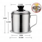 (12CM /14CM) Stainless Steel Oil Filter Pot Household Large Filter Oil Residue Cup Oil Tank Kitchen Leak-Proof Oil