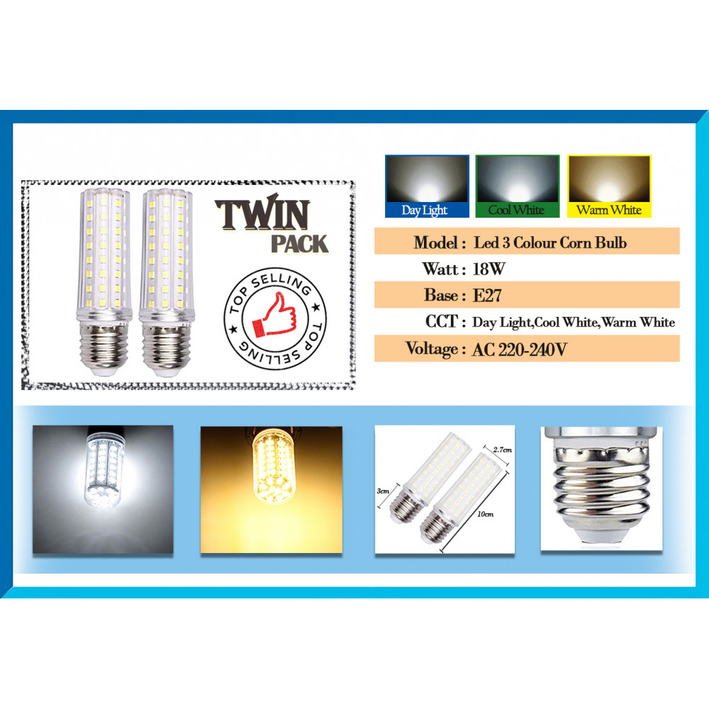 [Limited Offer][Buy 1 Free 1]Led 3 Colour Corn Bulb