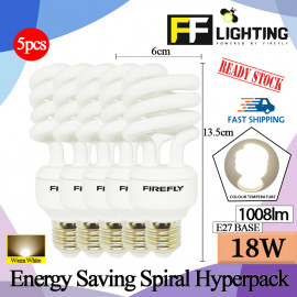 image of FFLighting Energy Saving Spiral 18W E27 Warm White (HYPERPACK)
