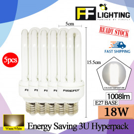 image of FFLighting Energy Saving 3U 18W E27 Warm White (HYPERPACK)
