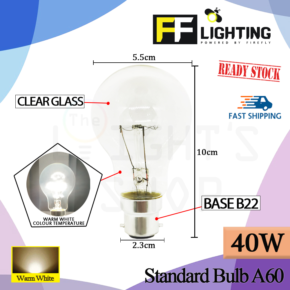 FFLighting Standard Bulb A60 40W B22 Clear
