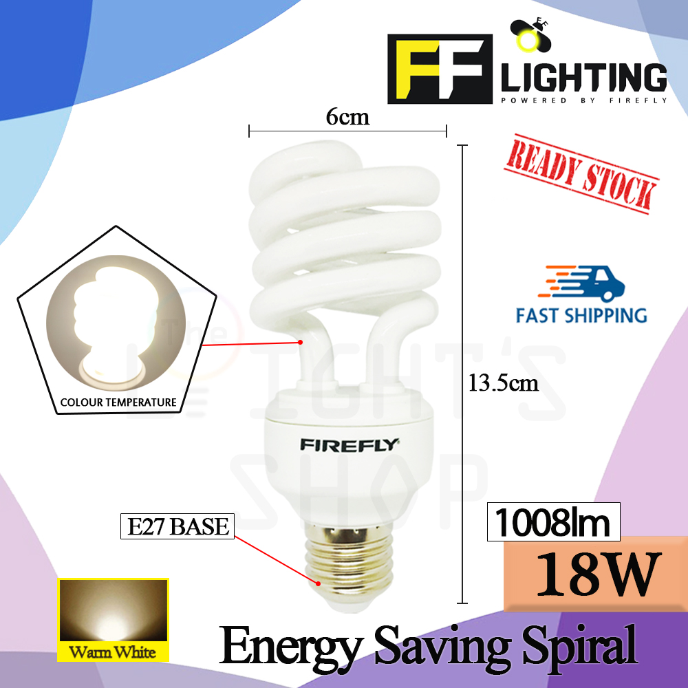 FFLighting Energy Saving Spiral 18W E27 Warm White