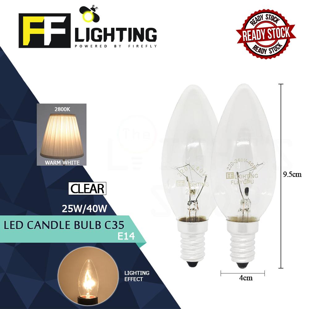 FFLighting Candle Bulb C35 25W/40W E14 Clear Warm White