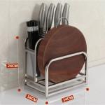 [HK159] 304 Stainless Steel Multifunction Knife Cutting Board Rack / Rak Pisau