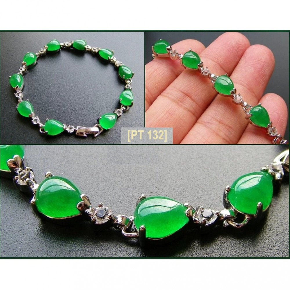 [PT132] Luxury Green Emerald Jade Silver Plating Korea Style Jewelry Bracelet