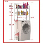 Stainless Steel 2 - 3 Tiers Washer and Toilet Organizer Shelves Standing Rack