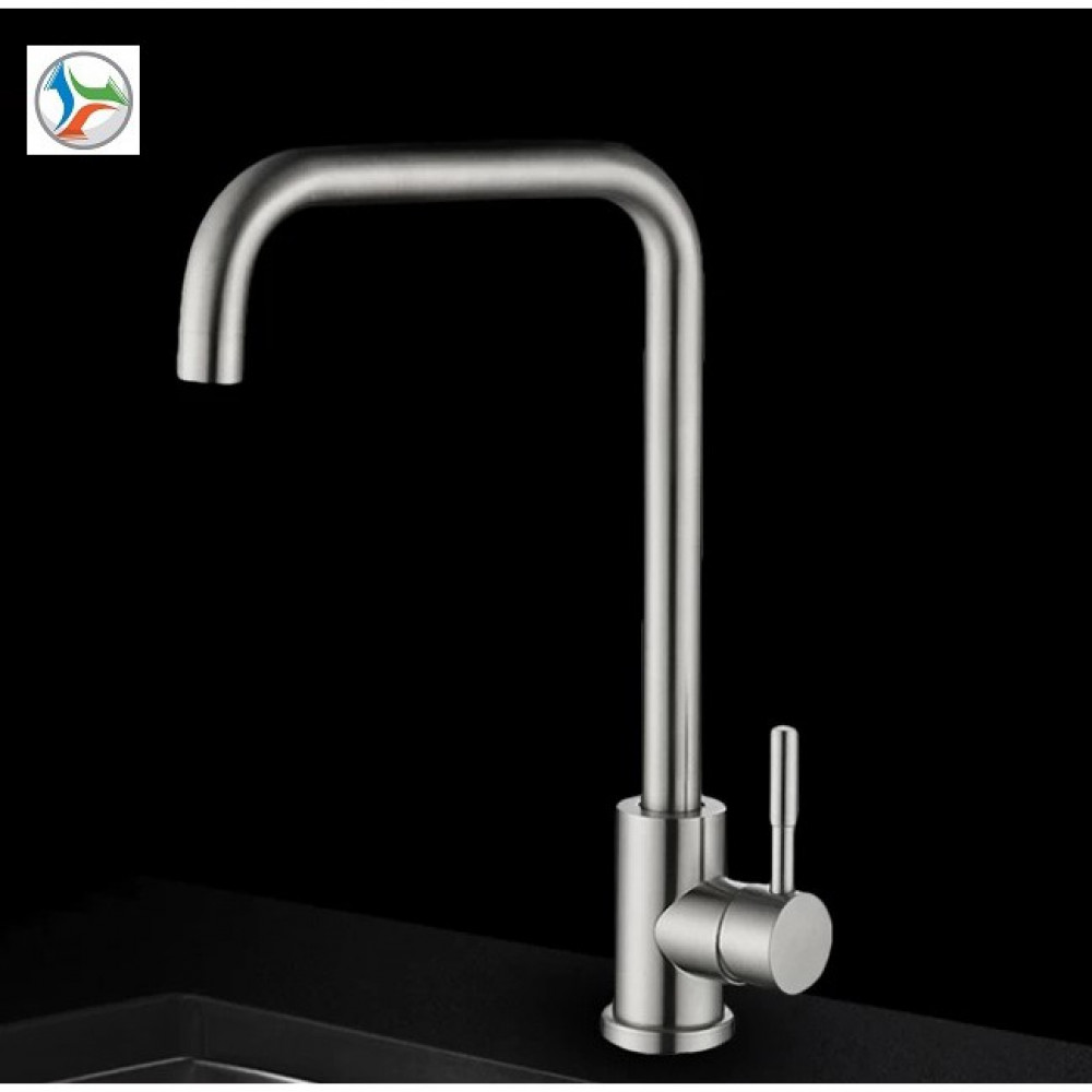 [HK519] Hot/Cold 304 Stainless Steel Swivel Kitchen Basin Sink Faucet Water Tap