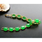 [PT136] Luxury Green Emerald Jade Gold Plating Korea Style Jewelry Bracelet
