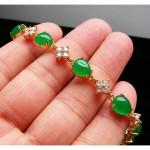 [PT134] Luxury Green Emerald Jade Gold Plating Korea Style Jewelry Bracelet