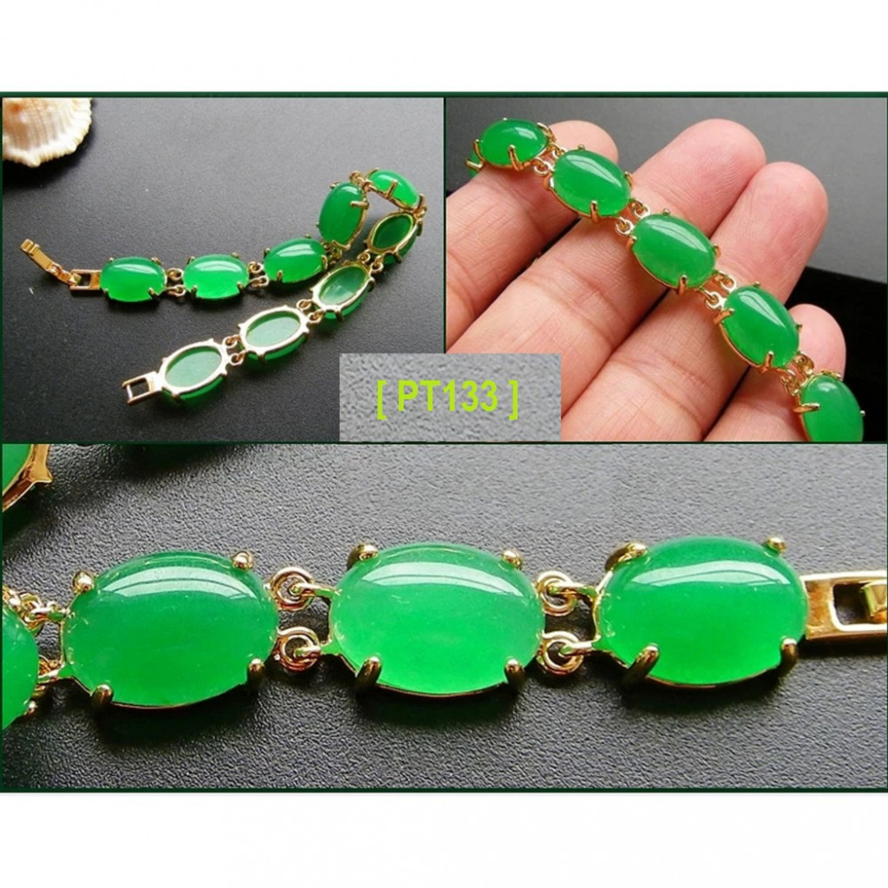 [PT133] Luxury Green Emerald Jade Gold Plating Korea Style Jewelry Bracelet