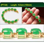 [PT124] Luxury Green Emerald Jade Gold Plating Korea Style Jewelry Bracelet