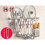 BOLTLESS Wall Mount Stainless Steel Kitchen Hanging Hooks Pot Pan Storage Rack