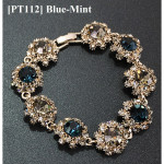 Korea Silver Plated Alloy Chain Bracelet for Women Ladies Crystal Jewelry