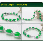 [PT121] Luxury Green Emerald Jade Gold Plating Korea Style Jewelry Bracelet