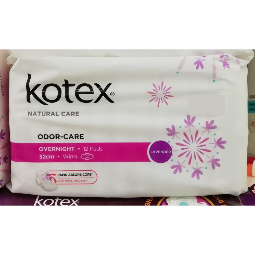 KOTEX OVERNIGHT ODOR CARE LAVENDER 32CM WING 6s / 12s
