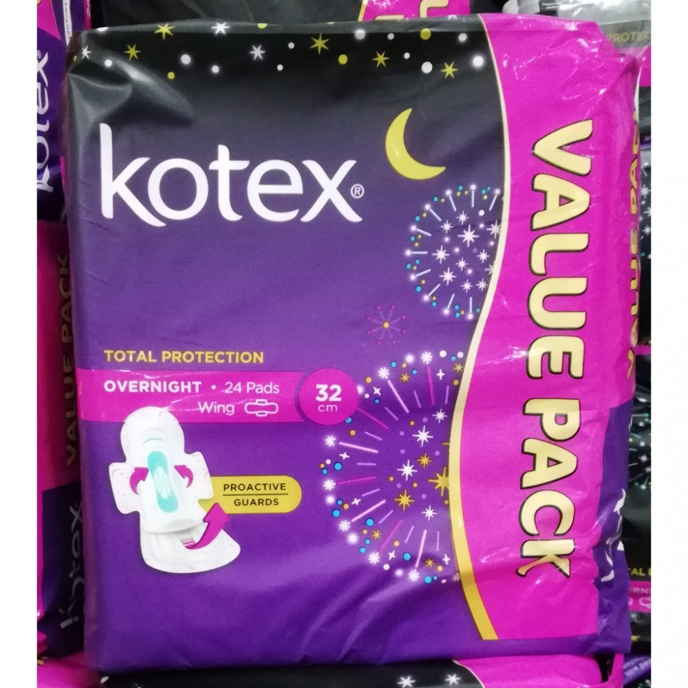 KOTEX TOTAL PROTECTION OVERNIGHT 32CM 24s (VALUE PACK)