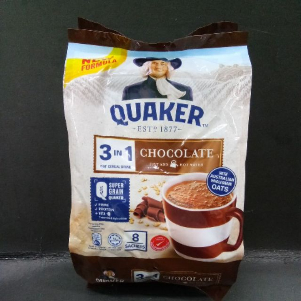 QUAKER 3IN1 OAT CEREAL DRINK CHOCOLATE 8'sX28gm