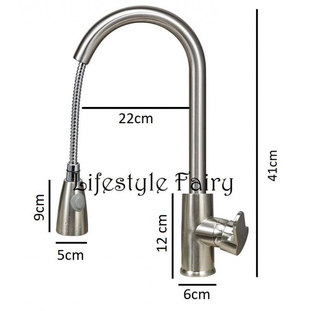 304 Stainless Steel Premier Swan Neck Pullout Kitchen Spray Tap