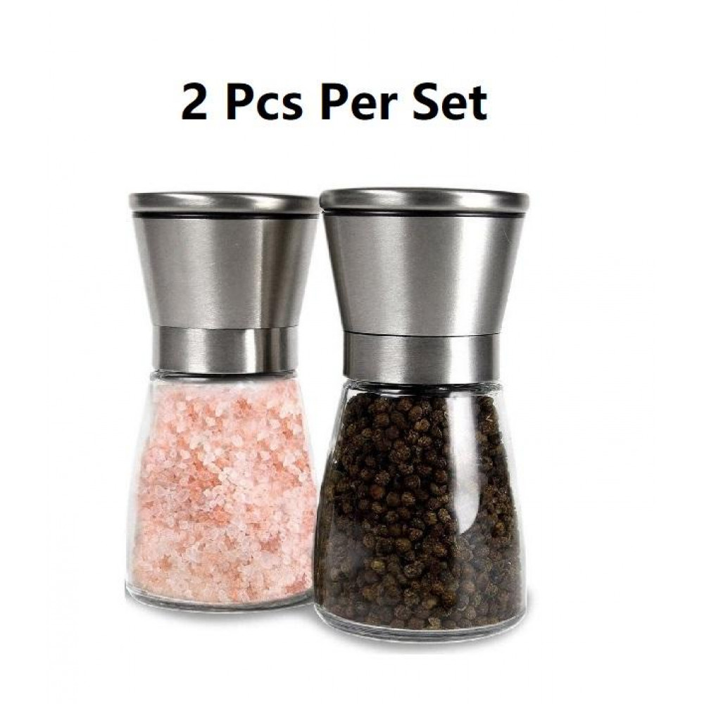 Stainless Steel Brushed Mill Salt Pepper Manual Bottle Grinder Glass Bottle x 2 Pcs