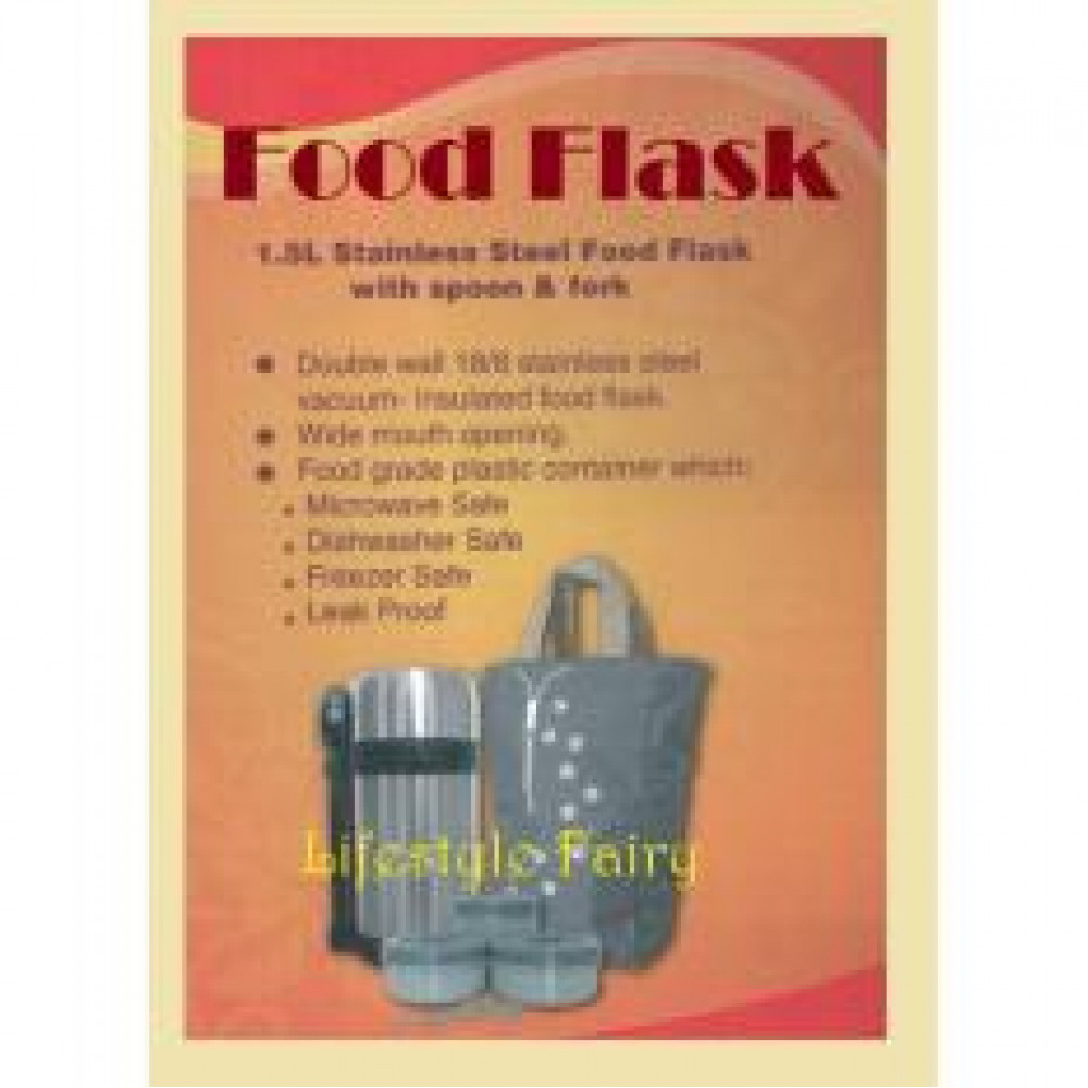 1.5L Stainless Steel Food Flask With Spoon & Fork
