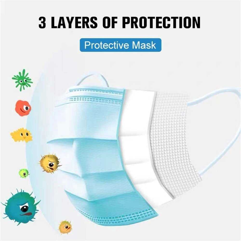 [Anti Bacteria & READY STOCK] 50 PCS Face Mask 100% Certified 3 Ply Layers Melt Blown iNon Woven Disposable Facemask