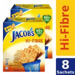 Jacob's Hi-Fiber Cream Crackers (209.6g x 2) [Multipack 8 Sachets]