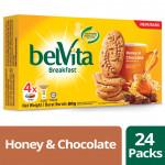 Belvita Breakfast Biscuits - Honey & Chocolate (80g x 24 Bundle)