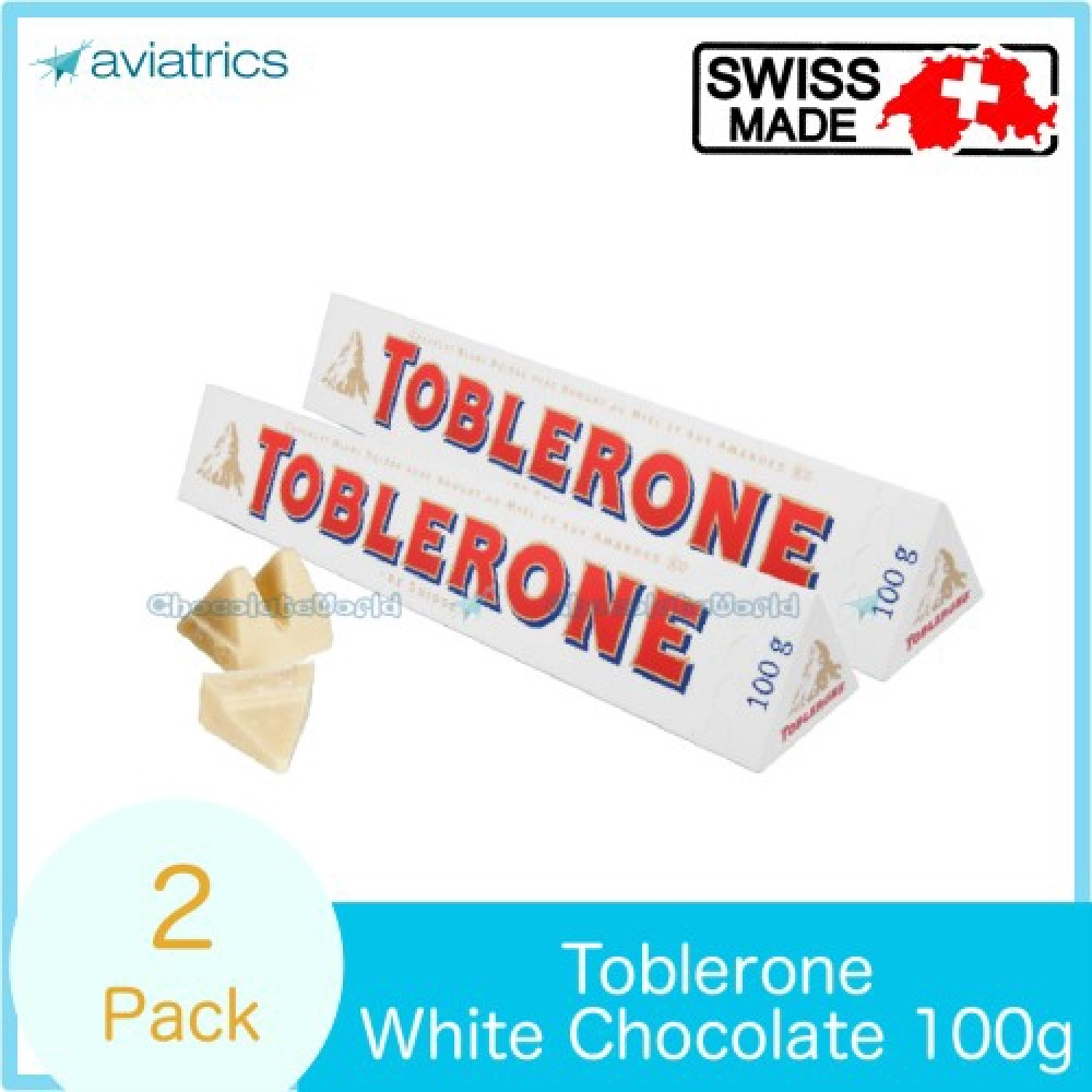 Toblerone White Chocolate With Almonds 100g X 2 Swiss Made
