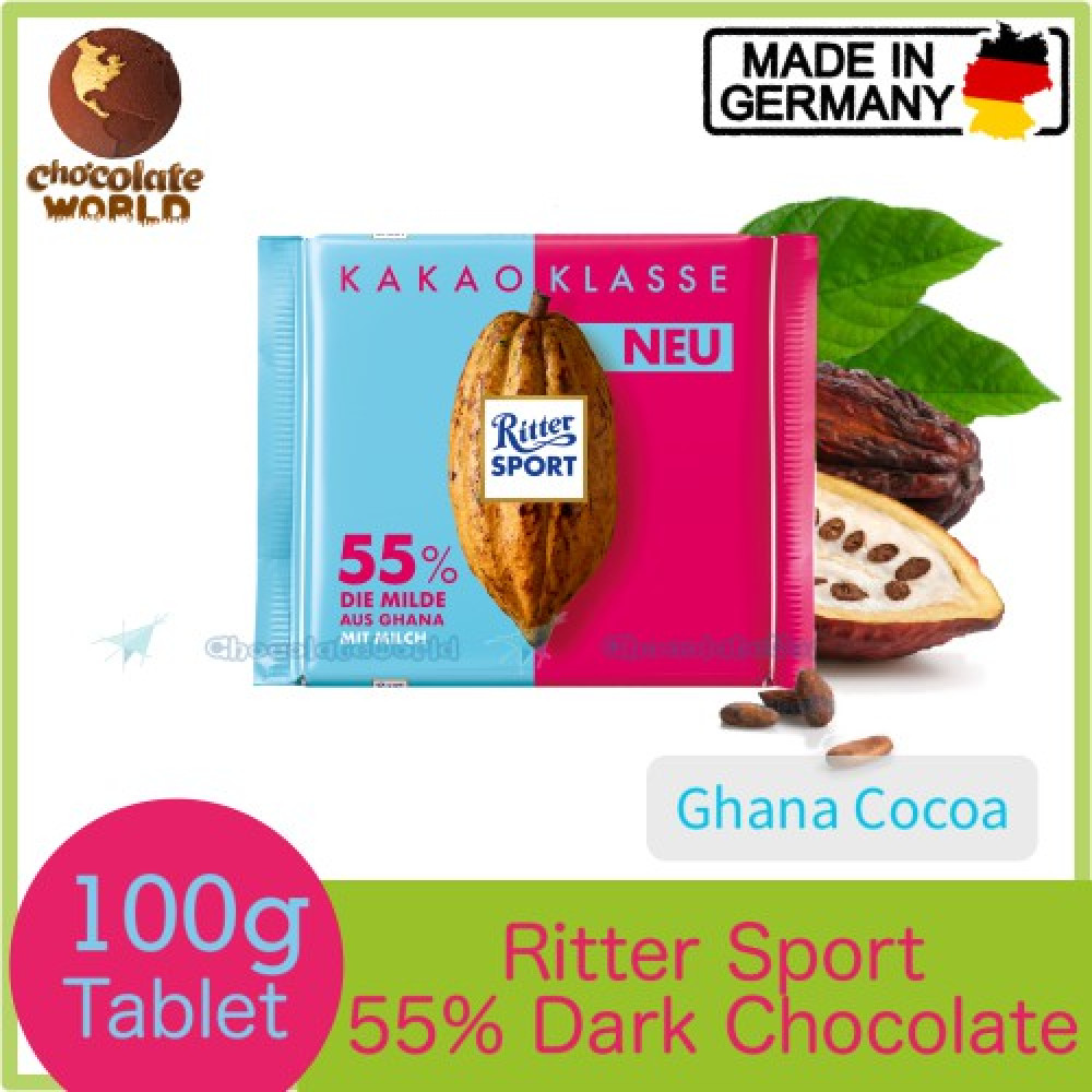 Ritter Sport 55% Smooth Dark Chocolate Bar Ghana Cacao 100g (Made in Germany)